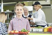 picture of school lunch  - Male Pupil With Healthy Lunch In School Cafeteria  - JPG