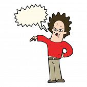 stock photo of nasty  - cartoon nasty boy with speech bubble - JPG