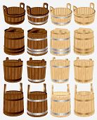 stock photo of tub  - big set barrel bucket pail tubs of wood - JPG