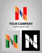 image of letter n  - Vector illustration of abstract icons based on the letter N logo - JPG
