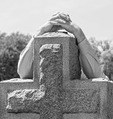 image of grieving  - Black and white lone figure of person - JPG