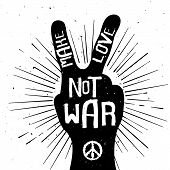 image of peace  - Grunge distressed peace sign silhouette with Make Love Not War text - JPG