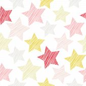 stock photo of star shape  - Sketch seamless pattern with stars - JPG