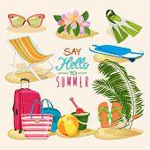 image of fin  - Summer beach set with sunglasses - JPG