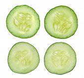 foto of cucumber slice  - Fresh slice cucumber on a white background - JPG