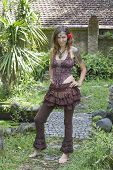 image of hippy  - Portrait beautiful hippie girl in nature in Bali Indonesia - JPG
