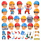 image of cartoon character  - Set of Cartoon Worker Character for Your Design or Aanimation - JPG