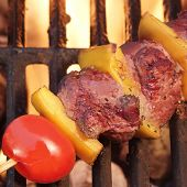 picture of bbq party  - Weekend BBQ Meat Beef Kebab Or Kabob On The Hot Flaming Grill - JPG