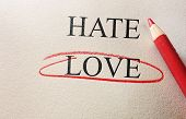 foto of hate  - Love and Hate red circle with pencil on textured paper - JPG