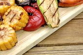 pic of sweet-corn  - Grilled Vegetables Assortment On The Wood Cutting Board - JPG