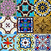 picture of ceramic tile  - Beautiful old wall ceramic tiles patterns handcraft from thailand public - JPG