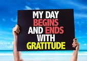 stock photo of humility  - My Day Begins and Ends with Gratitude card with beach background - JPG