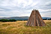 picture of wigwams  - Logpile piled into a shape of wigwam on a clearing in the Karkonosze mountains - JPG