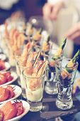 pic of banquet  - Glasses with seafood snacks  - JPG
