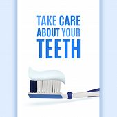 stock photo of toothpaste  - Take care about your teeth - JPG