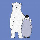 stock photo of bear cub  - Cute illustration of hugging polar bear cub and little penguin - JPG