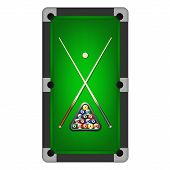 stock photo of pool ball  - Billiards balls triangle and two cues on a pool table - JPG