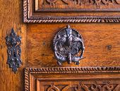 stock photo of wooden door  - Medieval antique door - JPG