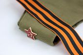 image of army  - Military garrison cap of the soldier Krasnoy  - JPG