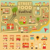 Постер, плакат: Street Food On City Map