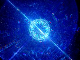 picture of higgs boson  - Blue glowing blast of technology computer generated abstract background - JPG