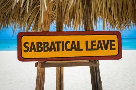 picture of sabbatical  - Sabbatical Leave sign with beach background - JPG