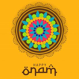 picture of pookolam  - illustration of a colorful background for Onam celebration - JPG