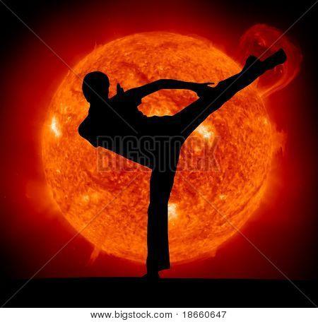 Постер, плакат: Боевое искусство Человек каратэ и Sun планеты , холст на подрамнике