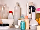 Cosmetics package of beauty products in cosmetic bottle. Packaging drugs for healthy. Still life of  poster