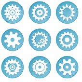 Nine blue wheel icons (buttons)