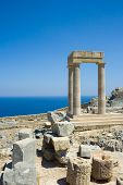 pic of akropolis  - The partially rebuilt Hellenistic Stoa inside the Acropolis of Lindos Rhodes Greece - JPG