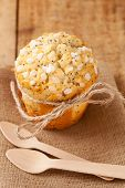 stock photo of bakeshop  - poppy seed muffin in rustic style - JPG