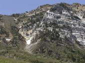 foto of snowbird  - View of Little Cottonwood Canyon north side from Snowbird ski resort near Salt Lake City Utah - JPG
