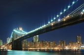 picture of brooklyn bridge  - Brooklyn Bridge and Manhattan skyline At Night Lights - JPG