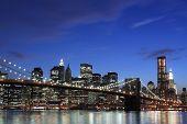 pic of new york skyline  - New York City Skyline and Brooklyn Bridge At Night - JPG
