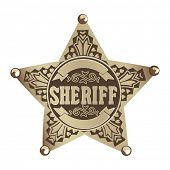 pic of gunslinger  - brown vector  Sheriff star on white background - JPG