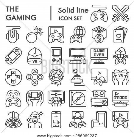 poster of Gaming Line Icon Set, Video Games Symbols Collection, Vector Sketches, Logo Illustrations, Gaming De
