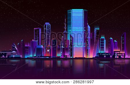 Modern Metropolis Night Landscape In