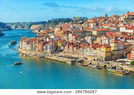 poster of Cityscape Of Porto (oporto) Old Town, Portugal. Valley Of The Douro River. Panorama Of The Famous Po