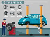 Flat Banner Tire Fitting Blue Repair Shop Wheel Replacement. Blue Car Is Lifted Crane And Auto Repai poster