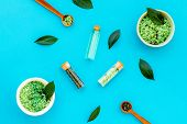 Make Cosmetics With Tea Tree Essential Oil. Homemade Cosmetics. Fresh Tea Tree Leaves, Mortar, Cosme poster