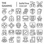Gaming Line Icon Set, Video Games Symbols Collection, Vector Sketches, Logo Illustrations, Gaming De poster