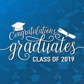 Vector Illustration On Seamless Graduations Background Congratulations Graduates 2019 Class Of, Whit poster