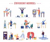 Colorful Flat Style Of Various Animals Doing Different Sports And Hobbies On White Background. Set O poster