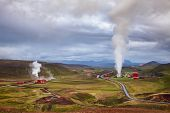 Aerial view of Krafla geothermal power plant, the largest Icelands power station near Krafla Volcano poster
