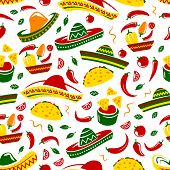 Mexican Cuisine Seamless Pattern. Vector Background Of Sombrero, Chili Or Jalapeno Pepper And Mexica poster