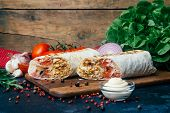 Doner Kebab (shawarma Or Doner Wrap). Grilled Chicken On Lavash (pita Bread) With Fresh Vegetables - poster