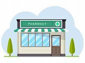 Facade Of Pharmacy Store In Urban Space. Pharmacy, Street Building Facade. Small Building With Roof, poster