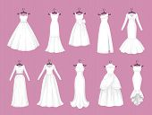 Wedding Dress Vector Isolated Icons Set. Vector Save The Date Greeting, Engagement And Marriage Part poster