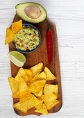 Guacamole And Corn Nachos On Rustic Wooden Board Over White Wooden Background. Top View. From Above, poster